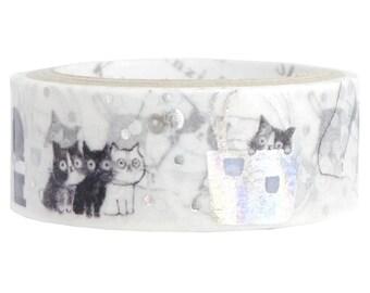 Cat Silver Glitter Japanese Washi Tape Shinzi Katoh Design (ks-dt-10049) Price depends on order volume.