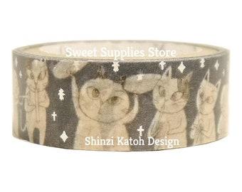 Cat Orchestra Silver Glitter Japanese Washi Tape Shinzi Katoh Design (ks-dt-10032)  Flat Rate Shipping