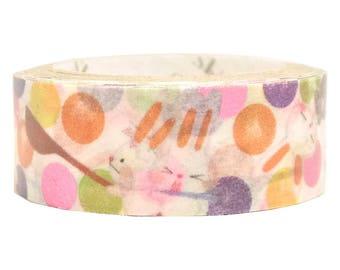 Funny Animals Pink Glitter Japanese Washi Tape Shinzi Katoh Design (ks-dt-10026) Price depends on order volume.