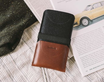 """Wallet for iPhone SE, leather, wool felt, black, chestnut, tan, """"Kangaroo"""", by band&roll"""