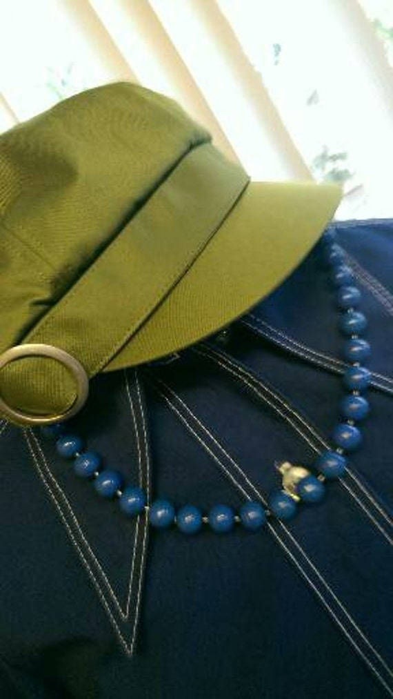 Vintage Royal Blue Beaded Necklace 1950s