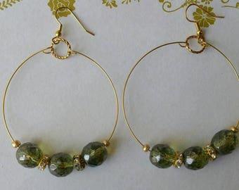 Bead Earrings, Gold and Moss Green, Hoop Earrings