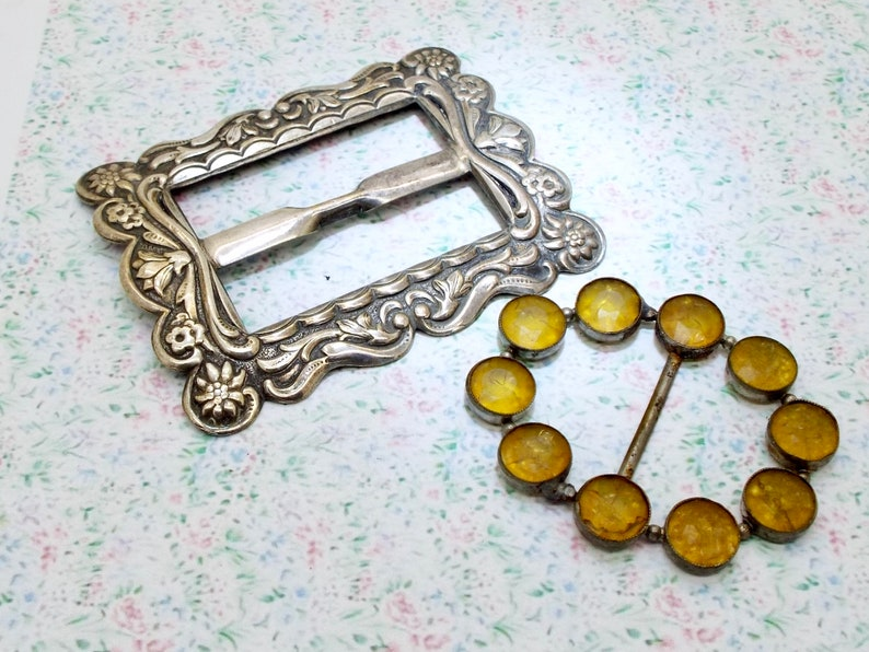 Two in total Antique Belt Buckles Repousse Silver Plate and Czech White Metal w Yellow Stones