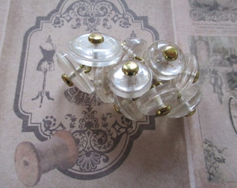 Vintage buttons, clear buttons, set of 12