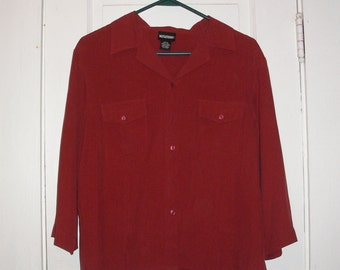 Size large, maroon, Notatuns Long Sleeved Blouse, pure silk, decorative, flap pockets, fitted back, dressy