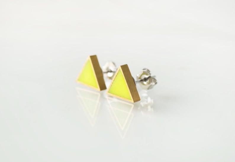 ff68a40f37f32 Neon yellow triangle stud earrings