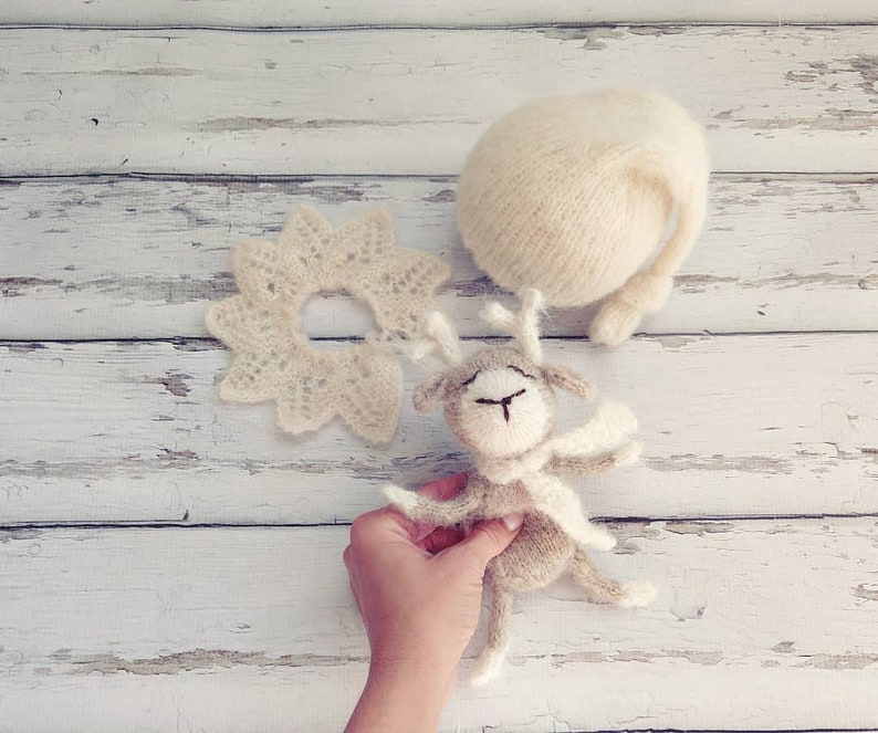Newborn baby Girl or boy Brushed Alpaca Elf Hat and lace collar set  Unique Luxury Photography Prop