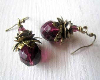 Amethyst Spring Drops: Antique Brass and Czech Glass Earrings