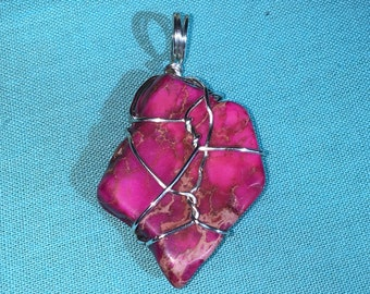 Pink Dyed Jasper w/ Silver Wire Wrapped Pendant