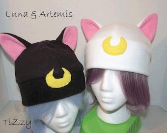 Luna/Artemis Fleece Hat - Sailor Moon Inspired