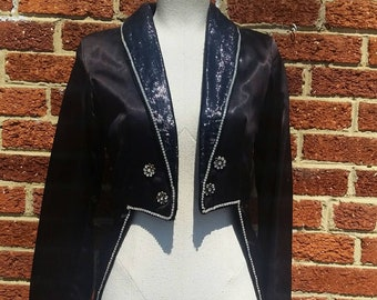 Vintage Showgirl Coat with Tails // Rhinestone Trim Beadwork // Magician Jacket