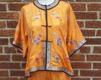 Vintage 1920s 30s Chinese Silk Pajamas    Beach Pajamas    Milnor Label    Antique  Pyjamas 4c02708ec
