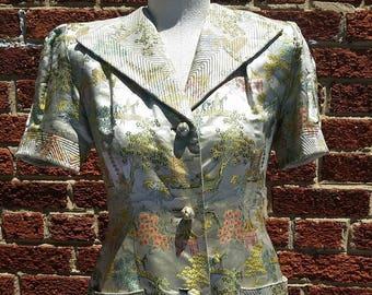 Vintage Asian Brocade Silk Pajama Set // 1940s 50s Hostess Outfit S/M // Viva Glam