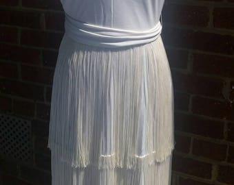 Vintage Lilli Diamond White Flapper Fringe Gown // Goddess Dress // New Old Stock