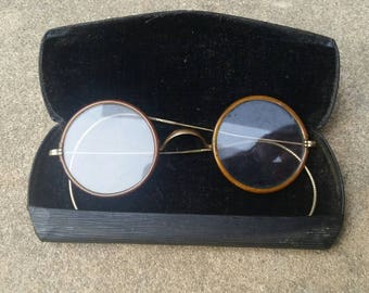 1c7f32eaa535 CLEARANCE    Antique Vintage Spectacles    Photoshoot Prop Glasses    Round  Glasses with Case    Bakelite