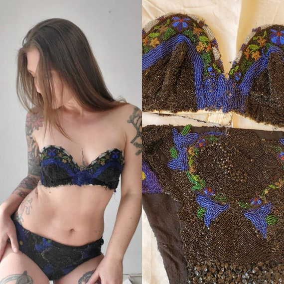 Handmade Vintage Antique Beaded Burlesque Costume