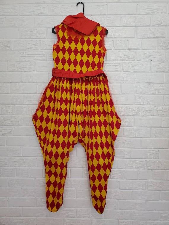 Vintage Harlequin Costume • Clown Jumpsuit • Ballo