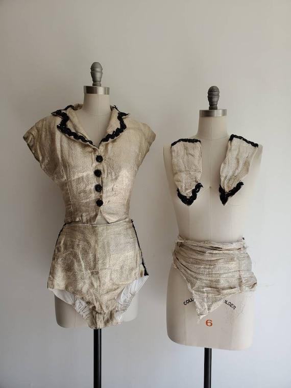 Vintage 1940s Gold Lame Majorette Showgirl Costume