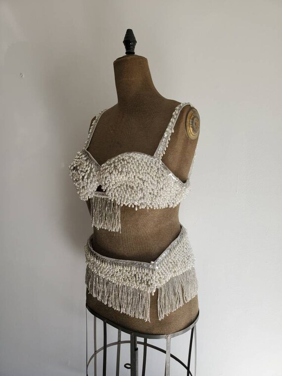 Vintage Pearly Beaded Belly Dance Costume • Burle… - image 6