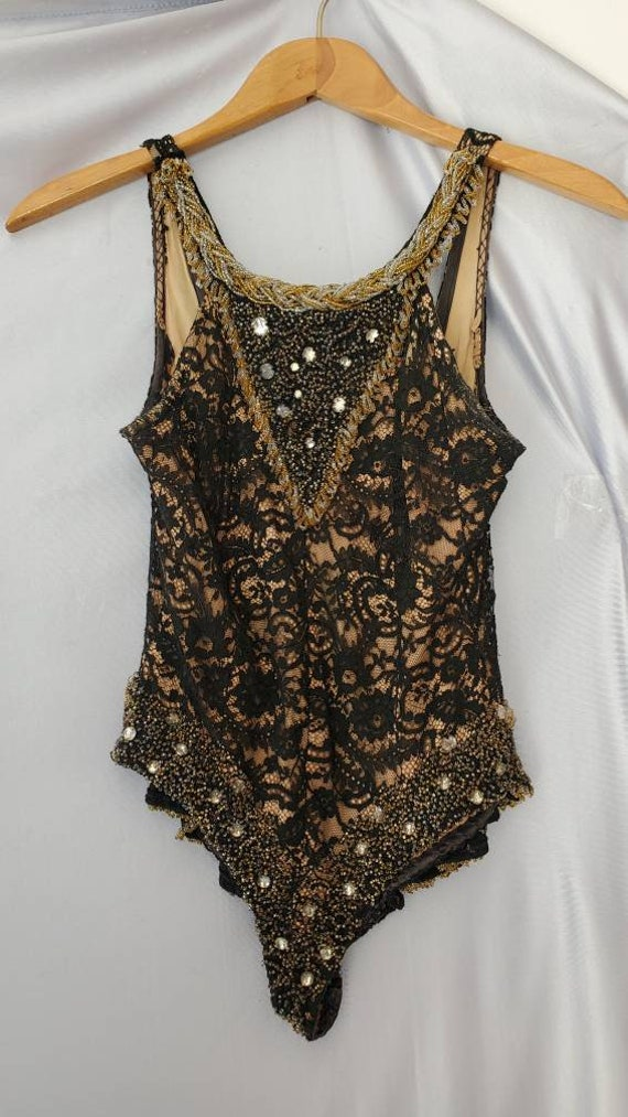 Vintage 1940s 50s Black Lace Beaded Illusion Showg
