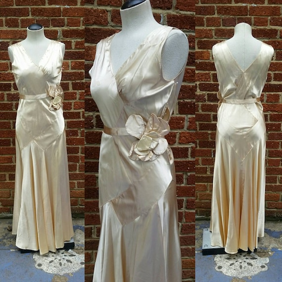 Vintage Wedding Dresses Etsy: Vintage 1930s Liquid Satin Bridal Dress Bias Wedding Gown