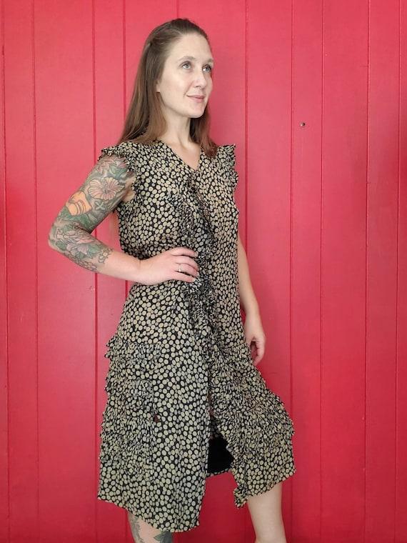 Vintage 1920s 30s Silk Chiffon Flapper Dress • Pol