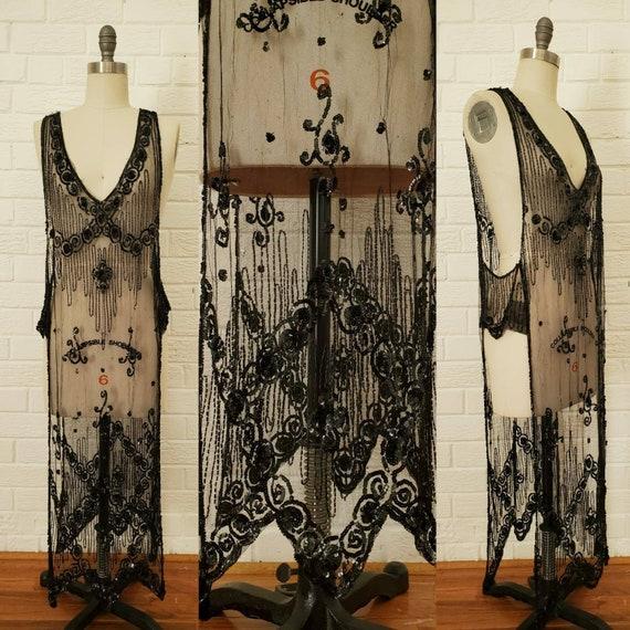 Antique 1920s Tabard Dress • Black Sequin Beaded M