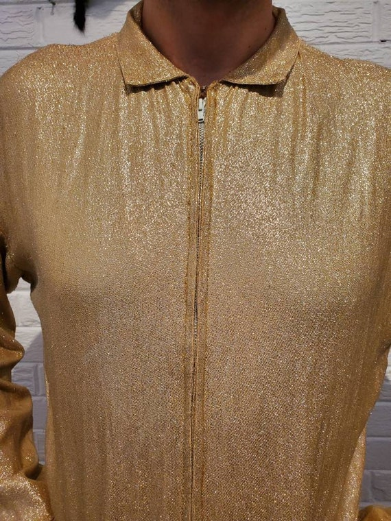 Disco Gold Lamé Jumpsuit • Elvis Costume - image 8