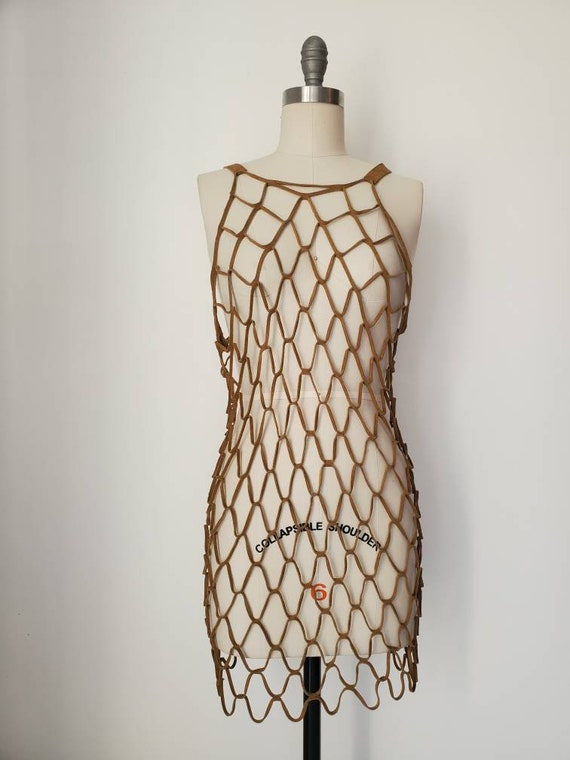 Vintage 1960s Mod Suede Chain Link Dress.• Leather