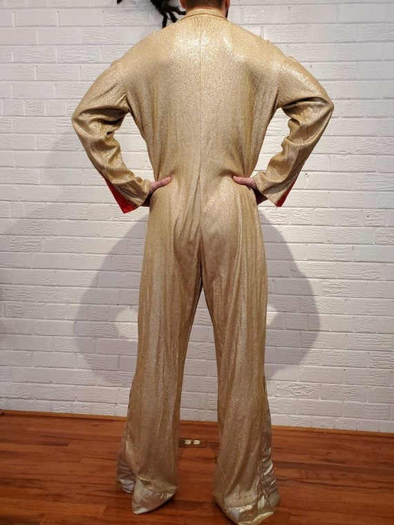 Disco Gold Lamé Jumpsuit • Elvis Costume - image 4