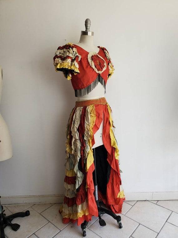 Incredible 1930s 40s Ruffle Carmen Miranda-Esque C