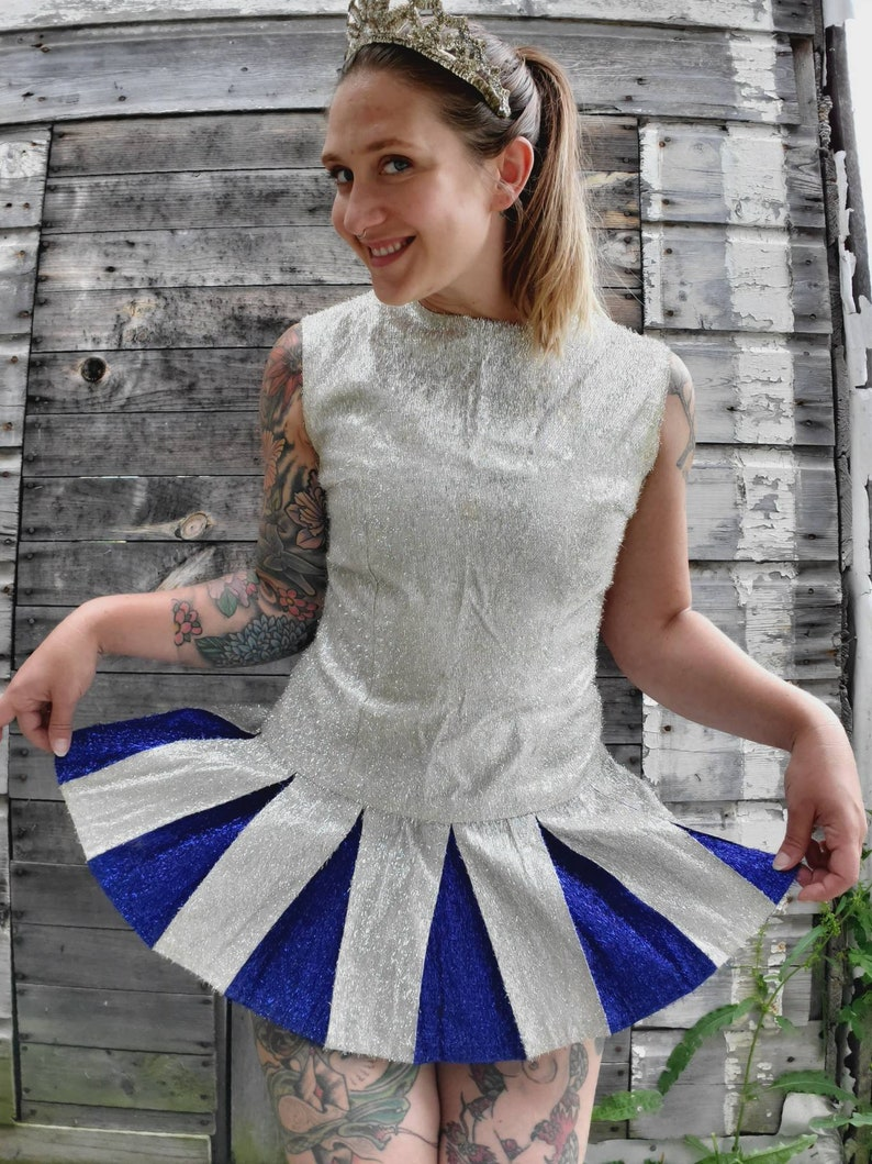 Vintage 1960s Silver and Blue Tinsel Majorette Costume • Baton Twirling  Outfit • Band Leader