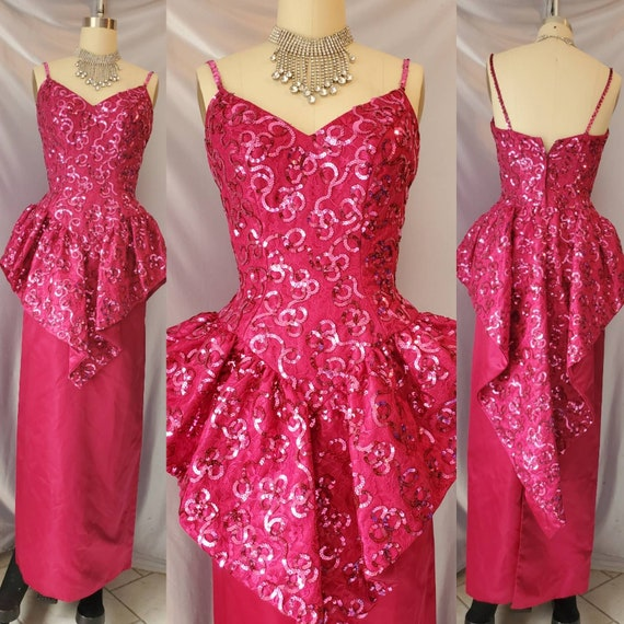 Vintage 70s Sequin Glam Dress Short Sleeve Chevron Evening Party Sheer Dress size S M