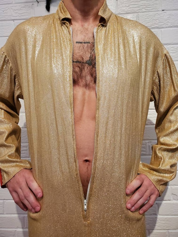 Disco Gold Lamé Jumpsuit • Elvis Costume - image 5