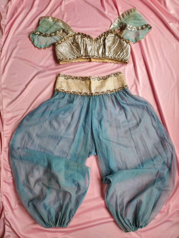 Vintage Blue Chiffon Silver Lame Belly Dance Costu