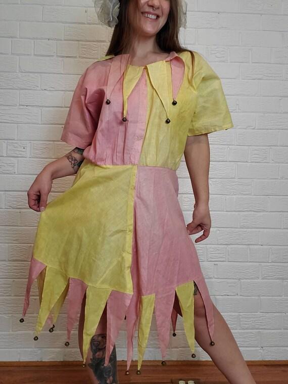 Amazing Vintage Jester Harlequin Costume Dress • P