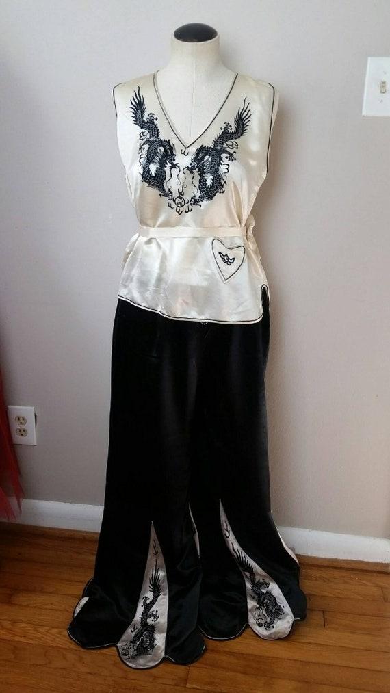 SALE! Vintage 1920s 30s Silk Dragon 3pc Pajama Se… - image 7