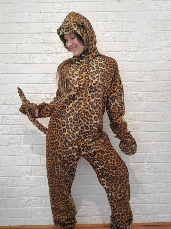 VTG CAVE WOMEN x-large one shoulder leopard print