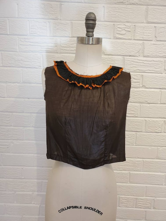 Vintage Halloween Costume Blouse • Paper Collar Ha