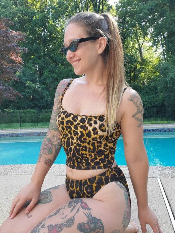 Vintage 1990s Anne Klein Leopard Print Swimsuit •