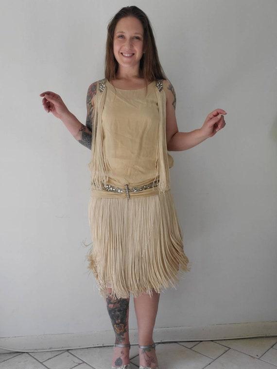 1920s Antique Fringe Rhinestone Flapper Dress • Vi