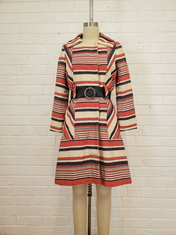 Vintage 1970s Striped Peacoat • Mod Jacket with Na