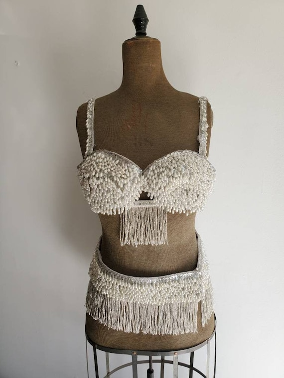 Vintage Pearly Beaded Belly Dance Costume • Burle… - image 3