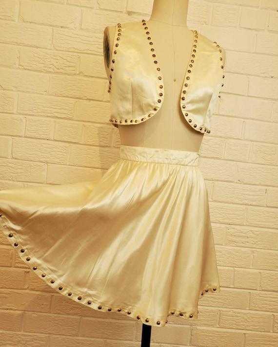 Vintage Satin Gold Studded Dance Outfit • Western