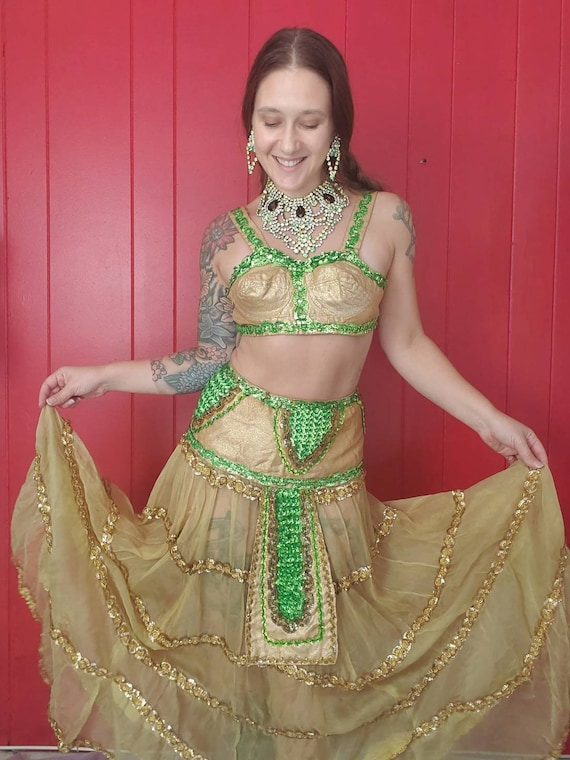 Vintage Gold Lame Belly Dance Style Costume • Bull