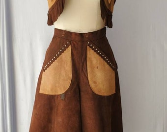 Vintage Studded Suede Western Outfit • Cropped Fringe Vest and Gaucho Style Pants
