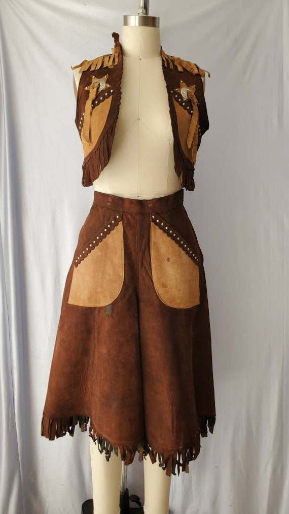 Vintage Studded Suede Western Outfit • Cropped Fri