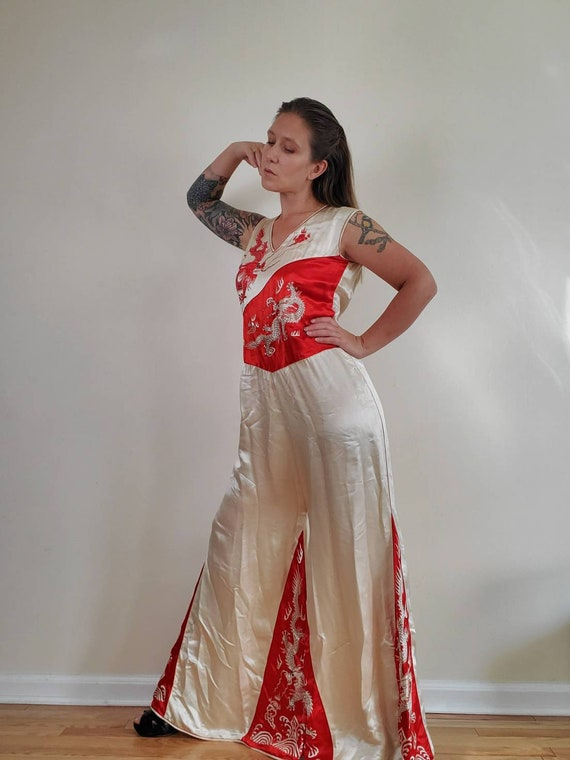 Vintage 1930s Era Silk Pajamas •  Beach Pajamas Ju