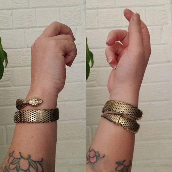 Vintage Whiting and Davis Snake Cuff Bracelet • Go