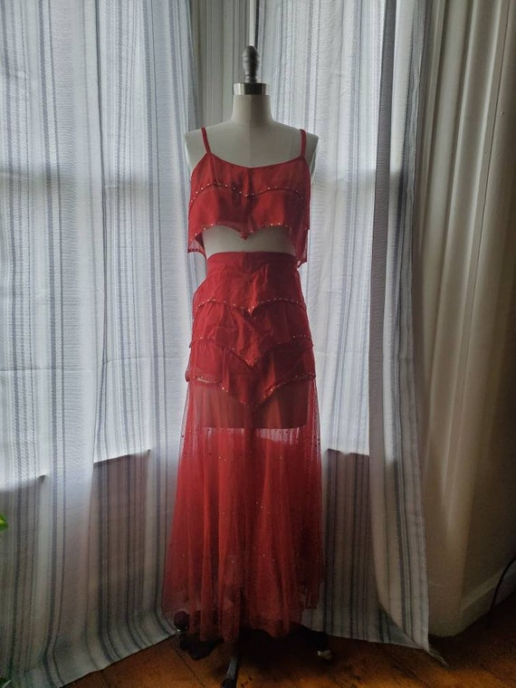 Vintage 1930s 40s Showgirl Two Piece Dress • Red M